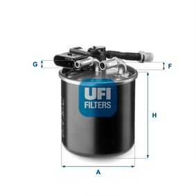 Fuel filter Height: 100,0mm with OEM Number 651 090 16 52
