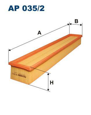 FILTRON  AP 035/2 Luftfilter Länge: 520mm, Breite: 86mm, Höhe: 57mm