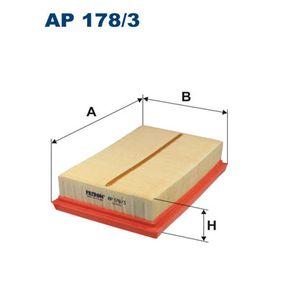 Luftfilter Länge: 178mm, Breite: 118mm, Höhe: 40mm, Länge: 178mm mit OEM-Nummer 17801-0M030