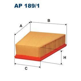 Luftfilter Länge: 213mm, Breite 1: 216mm, Breite 2: 127mm, Höhe: 70mm mit OEM-Nummer 5Z0 129 620A