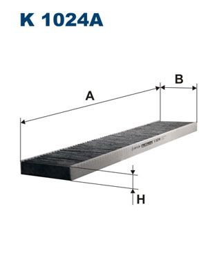 FILTRON  K 1024A Filter, Innenraumluft Länge: 536mm, Breite: 110mm, Höhe: 25mm