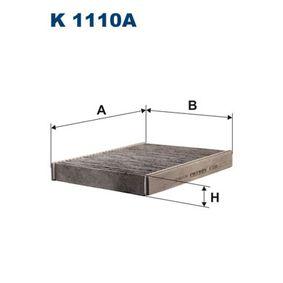 Filter, Innenraumluft Länge: 239mm, Breite: 190mm, Höhe: 34mm mit OEM-Nummer 1204464