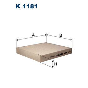 Filter, Innenraumluft K 1181 IMPREZA Schrägheck (GR, GH, G3) 2.5 WRX S AWD Bj 2010