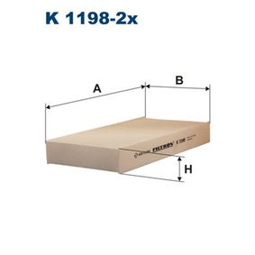 Filter, interior air K 1198-2x CIVIC 7 Hatchback (EU, EP, EV) 1.4 iS MY 2002