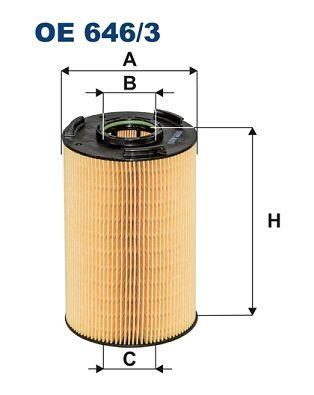 FILTRON  OE 646/3 Ölfilter Innendurchmesser 2: 53mm, Innendurchmesser 2: 53mm, Höhe: 194mm