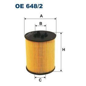 Ölfilter Innendurchmesser 2: 24,5mm, Innendurchmesser 2: 30,5mm, Höhe: 79,5mm mit OEM-Nummer 93 183 723