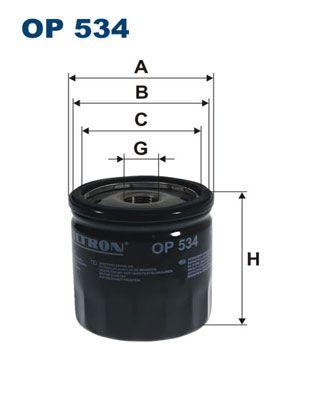 FILTRON  OP 534 Ölfilter Ø: 75mm, Innendurchmesser 2: 69,5mm, Innendurchmesser 2: 61,5mm, Höhe: 76mm