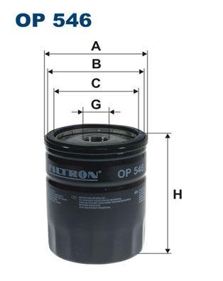 FILTRON  OP 546 Ölfilter Ø: 76,5mm, Innendurchmesser 2: 71,5mm, Innendurchmesser 2: 62,5mm, Höhe: 96,5mm