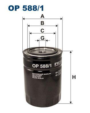 FILTRON  OP 588/1 Filtro de aceite Ø: 93,5mm, Diám. int. 2: 72,5mm, Diám. int. 2: 62mm, Altura: 132,5mm