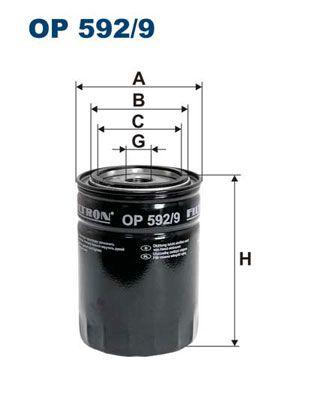 FILTRON  OP 592/9 Ölfilter Ø: 93,5mm, Innendurchmesser 2: 72,5mm, Innendurchmesser 2: 62mm, Höhe: 131mm