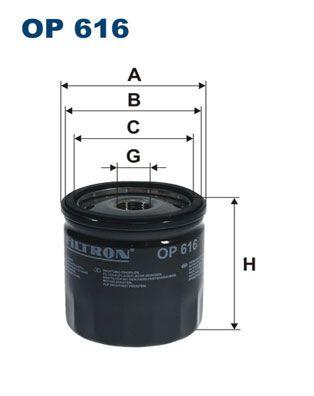 FILTRON  OP 616 Olajszűrő Ø: 76,5mm, Belső átmérő 2: 69,5mm, Belső átmérő 2: 62mm, Magasság: 76mm