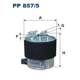 Fuel filter Height: 120mm with OEM Number 1640-0JD52D