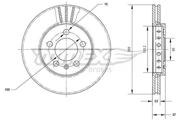 TOMEX brakes  TX 70-03 Bremsscheibe Bremsscheibendicke: 22mm, Lochanzahl: 5, Ø: 256mm