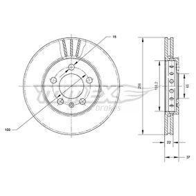Bremsscheibe Bremsscheibendicke: 22mm, Lochanzahl: 5, Ø: 256mm mit OEM-Nummer 1J0.615.301D