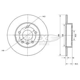 Bremsscheibe Bremsscheibendicke: 9,9mm, Lochanzahl: 5, Ø: 264mm mit OEM-Nummer 91 177 72