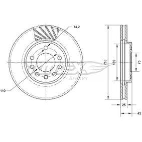 Bremsscheibe Bremsscheibendicke: 25mm, Lochanzahl: 5, Ø: 280mm mit OEM-Nummer 9117678