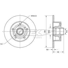 Bremsscheibe Bremsscheibendicke: 9,9mm, Lochanzahl: 5, Ø: 245mm mit OEM-Nummer 8D0 615 301 B