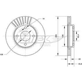 Brake Disc Brake Disc Thickness: 22mm, Num. of holes: 4, Ø: 258mm with OEM Number 98AG1125EA