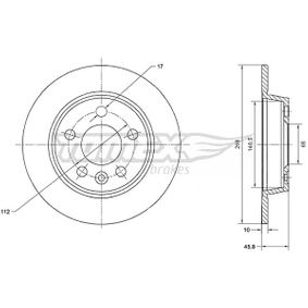 Bremsscheibe Bremsscheibendicke: 10mm, Lochanzahl: 5, Ø: 268mm mit OEM-Nummer 7MO 615 601 C