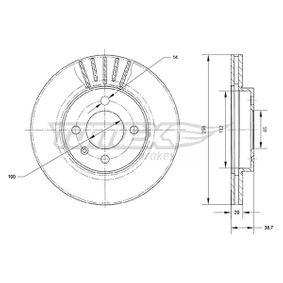 Bremsscheibe Bremsscheibendicke: 20mm, Lochanzahl: 4, Ø: 256mm mit OEM-Nummer 6N0 615 301D