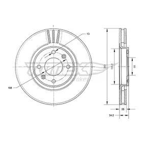 Bremsscheibe Bremsscheibendicke: 26mm, Lochanzahl: 4, Ø: 283mm mit OEM-Nummer 4249-17