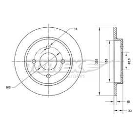 Brake Disc Brake Disc Thickness: 10mm, Num. of holes: 4, Ø: 253mm with OEM Number 95GB 2A315 B1C