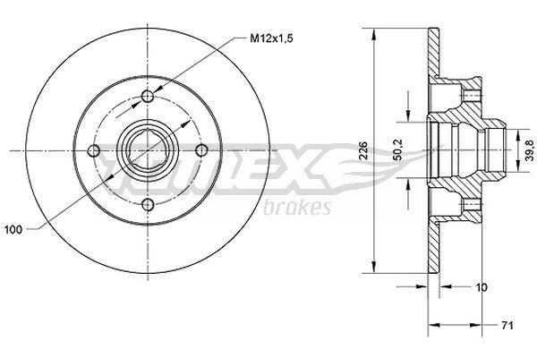 TOMEX brakes  TX 70-71 Bremsscheibe Bremsscheibendicke: 10mm, Lochanzahl: 4, Ø: 226mm