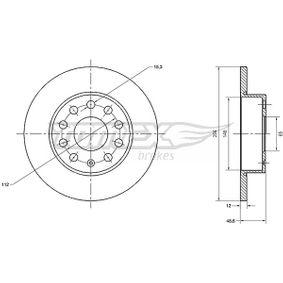 Bremsscheibe Bremsscheibendicke: 12mm, Lochanzahl: 9, Ø: 256mm mit OEM-Nummer 1K0-615-601L
