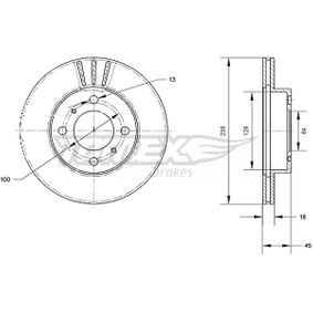TOMEX brakes Brake disc kit Front Axle, Vented, Painted