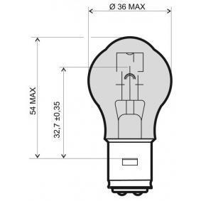 Крушка с нагреваема жичка, главни фарове S2, BA20D, 35ват, 12волт 24 651 0319