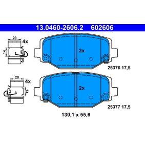 ATE  13.0460-2606.2 Bremsbelagsatz, Scheibenbremse Breite: 130,1mm, Höhe: 55,6mm, Dicke/Stärke: 17,5mm