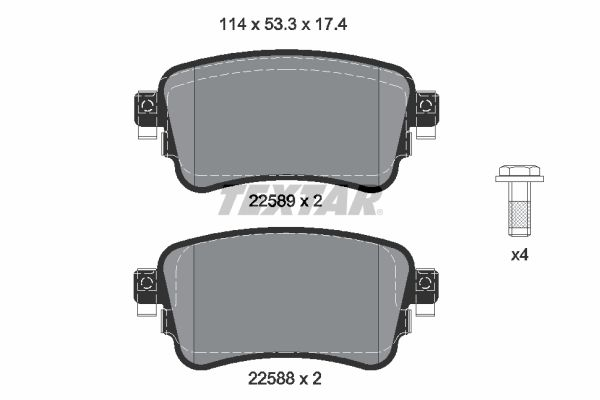 TEXTAR  2258801 Комплект спирачно феродо, дискови спирачки ширина: 114мм, височина: 53,3мм, дебелина: 17,4мм