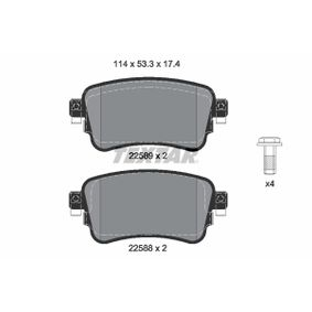 Brake Pad Set, disc brake Width: 114,0mm, Height: 53,3mm, Thickness: 17,4mm with OEM Number SU001 A6 136