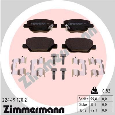 ZIMMERMANN  22449.170.2 Bremsbelagsatz, Scheibenbremse Breite: 100mm, Höhe: 42mm, Dicke/Stärke: 17mm