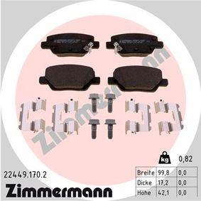 Bremsbelagsatz, Scheibenbremse Breite: 100mm, Höhe: 42mm, Dicke/Stärke: 17mm mit OEM-Nummer 77367717