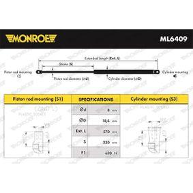 MONROE  ML6409 Heckklappendämpfer / Gasfeder Länge: 570mm, Hub: 230mm