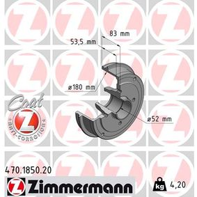 Bremstrommel Br.Tr.Durchmesser außen: 208mm, Felge: 4-loch mit OEM-Nummer 60 01 548 126