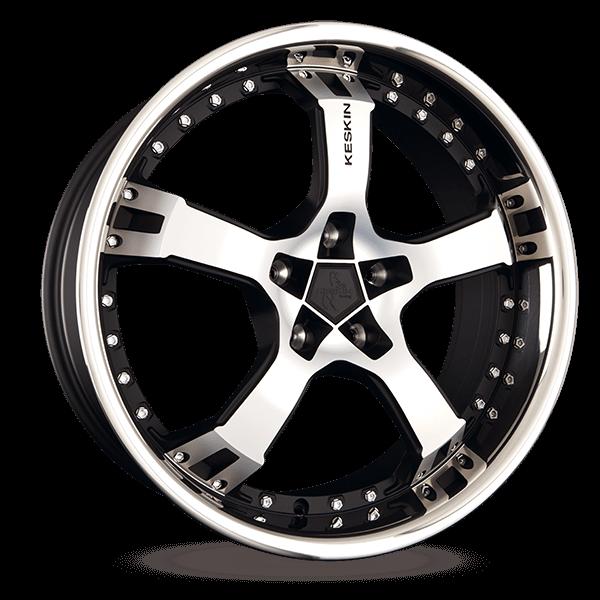 KESKIN KT10 Humerus mattschwarz Front Horn poliert alloy wheel 9.5xR19 PCD 5x100 ET25 d63.40