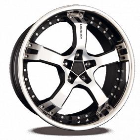 alloy wheel KESKIN KT10 Humerus mattschwarz Front Horn poliert 18 inches 5x100 PCD ET25 KT109518510025MBFS