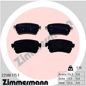 ZIMMERMANN  22588.175.1 Brake Pad Set, disc brake Width: 114,0mm, Height: 53,4mm, Thickness: 17,5mm