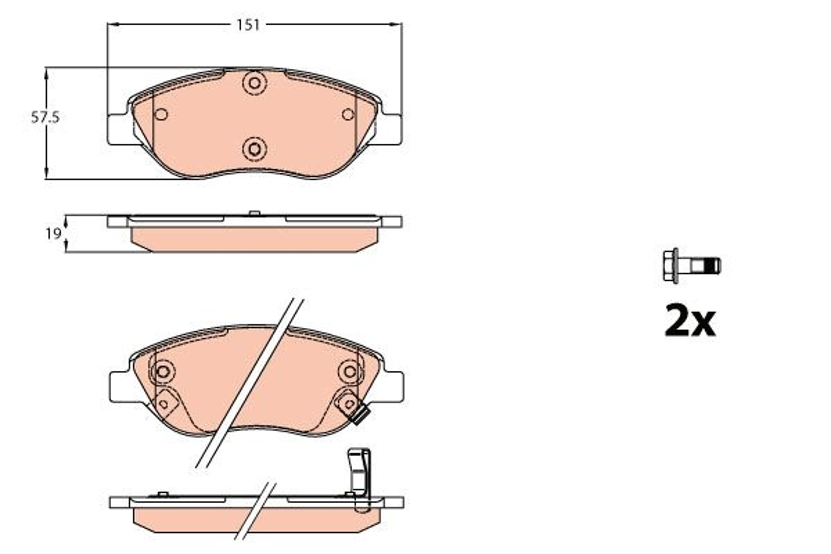 TRW  GDB2228 Bremsbelagsatz, Scheibenbremse Höhe: 57,5mm, Dicke/Stärke: 19mm
