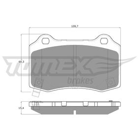 Bremsbelagsatz, Scheibenbremse Höhe: 69,3mm, Dicke/Stärke: 15,4mm mit OEM-Nummer 68144432AA