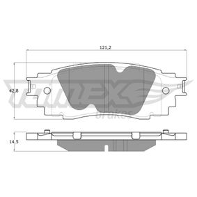 Brake Pad Set, disc brake Width: 121,2mm, Height: 42,8mm, Thickness: 14,5mm with OEM Number 044660E070