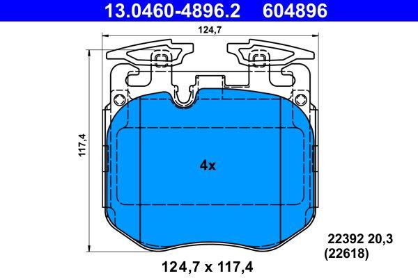 ATE  13.0460-4896.2 Bremsbelagsatz, Scheibenbremse Breite: 127,7mm, Höhe: 117,4mm, Dicke/Stärke: 20,3mm