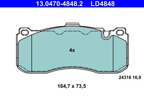 ATE  13.0470-4848.2 Bremsbelagsatz, Scheibenbremse Breite: 164,7mm, Höhe: 73,5mm, Dicke/Stärke: 16,9mm