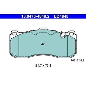Bremsbelagsatz, Scheibenbremse Breite: 164,7mm, Höhe: 73,5mm, Dicke/Stärke: 16,9mm mit OEM-Nummer 34116786044