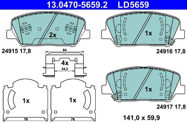 ATE  13.0470-5659.2 Bremsbelagsatz, Scheibenbremse Breite: 141,0mm, Höhe: 59,9mm, Dicke/Stärke: 17,8mm