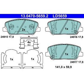 Bremsbelagsatz, Scheibenbremse Breite: 141,0mm, Höhe: 59,9mm, Dicke/Stärke: 17,8mm mit OEM-Nummer 58101-2MA00