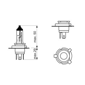 Bulb 12V 60/55W, HY6W, PU43t-3 1 987 302 092