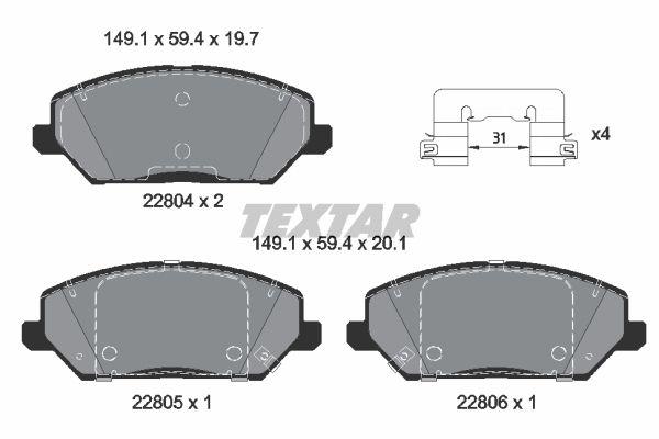 TEXTAR  2280401 Brake Pad Set, disc brake Width: 149,1mm, Height: 59,4mm, Thickness 1: 19,7mm, Thickness 2: 20,1mm